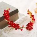 Ручной Красный Оголовье Женщины Цветок Головные Уборы Невесты Золото Головной Убор Свадебные Аксессуары Для Волос Свадебный цветок Лента Для Волос 450