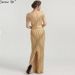 Image 2 - Новинка 2020 роскошные золотистые вечерние платья без рукавов с юбкой годе модные элегантные блестящие вечерние платья с бахромой и бисером LA6543