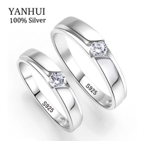 YANHUI 100 Original Natural 925 Silver Wedding Rings For Men And Women 0 5Ct CZ Engagement