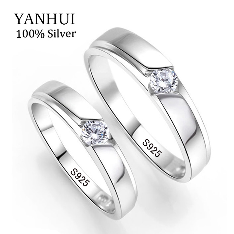 YANHUI 100% Original Natural 925 Silver Wedding Rings for Men and Women 0.5Ct CZ Engagement Couple Rings Set For Lovers JZRD09 big promotion 100% original 925 silver wedding rings for women natural solitaire 6mm cz diamant engagement rings jewelry rj003
