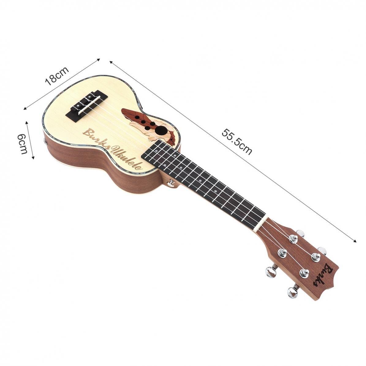 Guitare électroacoustique à 4 cordes de 21 pouces en épicéa EQ Soprano Ukelele 15 frette avec ramassage EQ intégré