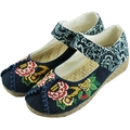 Fashion Old Peking Cloth Flats Shoes,Chinese National Style Soft Sole Rose Embroidery Casual Shoes,Women Dance Shoes Beige Red