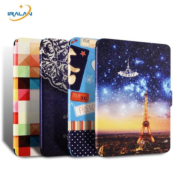 Dla Amazon kindle paperwhite 1 2 3 Ultra cienki filp case dla Paperwhite 2015 16 6th generacji E-BOOK Malowane pokrywy ereader funda