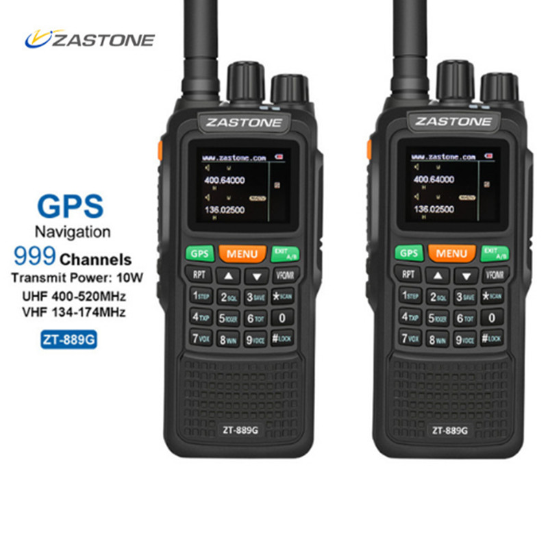 2 pcs ZASTON 889g Portable Two Way Radio 5 km-10 km UHF/VHF 10 w 999CH 3000 mah Talkie Walkie Ham CB Radio Comunicador pour Explorer