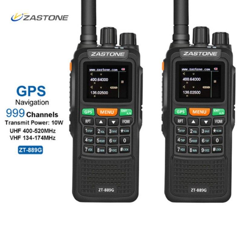 2 pcs ZASTON 889g Portable Two Way Radio 5 km-10 km UHF/VHF 10 w 999CH 3000 mah Talkie Walkie Ham CB Radio Comunicador pour Explorer