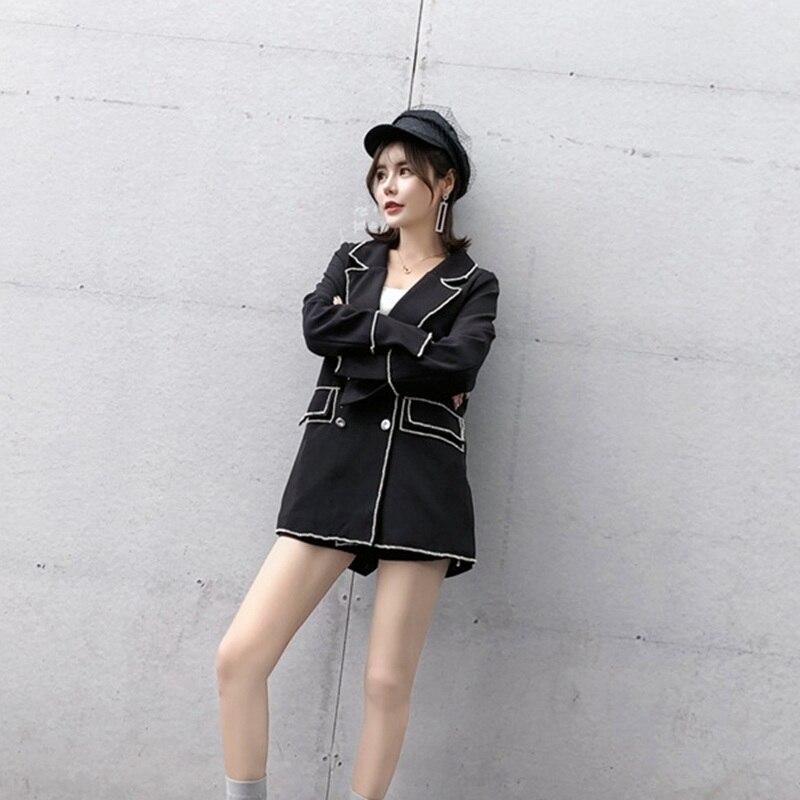 Ensemble Noir Pantalon Deux amp; breasted Femmes Costume Blazer Hiver Shorts Bas Tdvictory Pièces Slim Vers Double Manteau Tournent Occasionnel Automne 2018 Le CXnqwB1FI