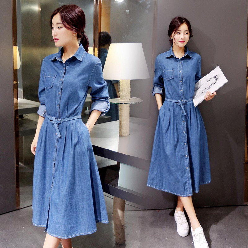 2016 new women denim dresses spring fashion long sleeve turn down collar long office party dress. Black Bedroom Furniture Sets. Home Design Ideas