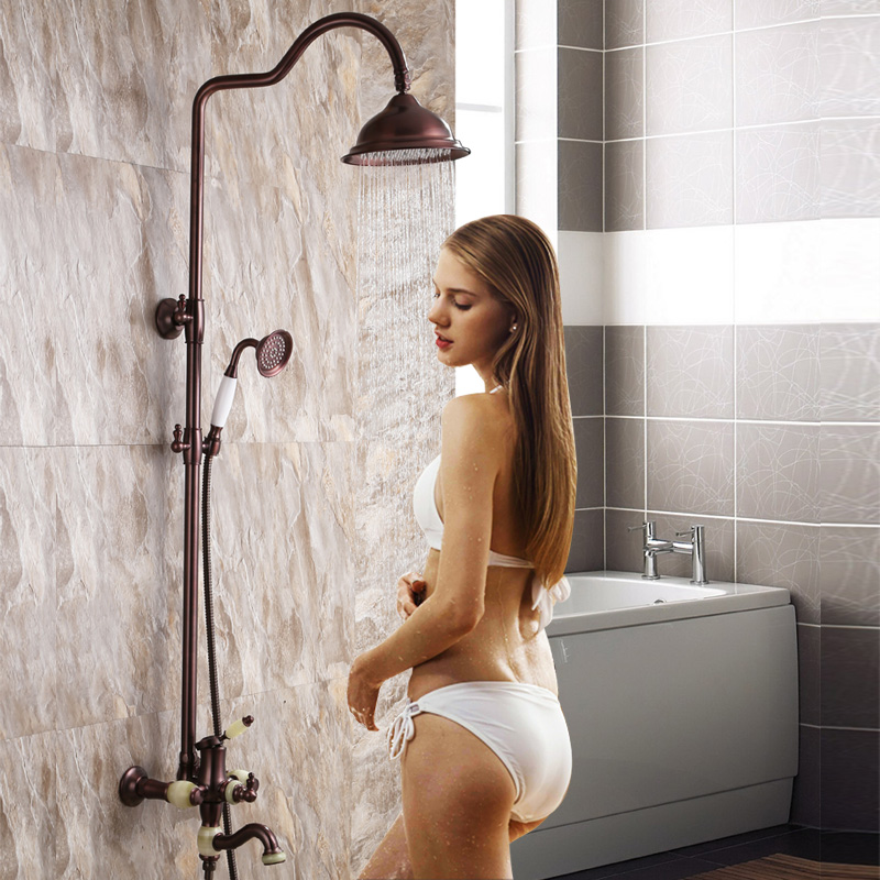 Adaptic copper shower bathroom suite antique European style retro lifting shower wall shower