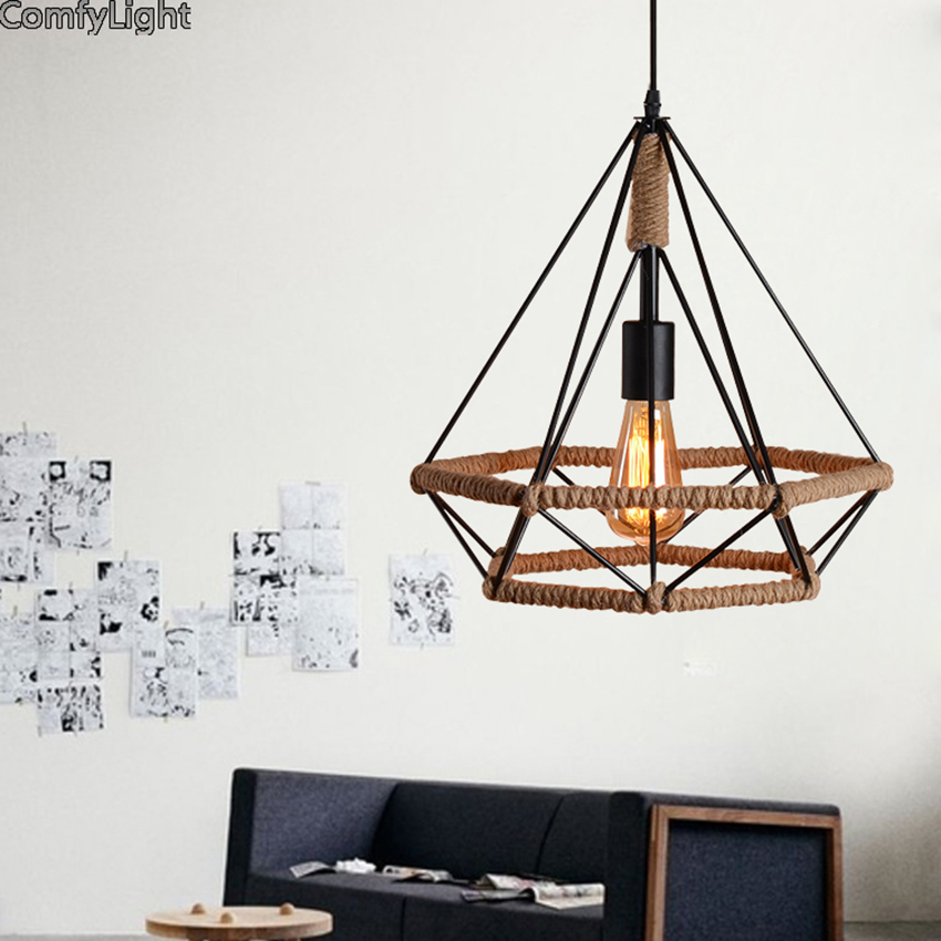 Retro Vintage Rope Pendant Light Lamp Loft Creative Personality Industrial Lamp Edison Bulb American Style For Living Room retro industrial lid pendant light personality european style led hanging lamp loft edison lamp for living room coffee shop