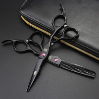 6 0 Kasho Professional Hair Clippers Hairdressing Scissors Black Hair Cutting Barber Scissors And Thinning Shears