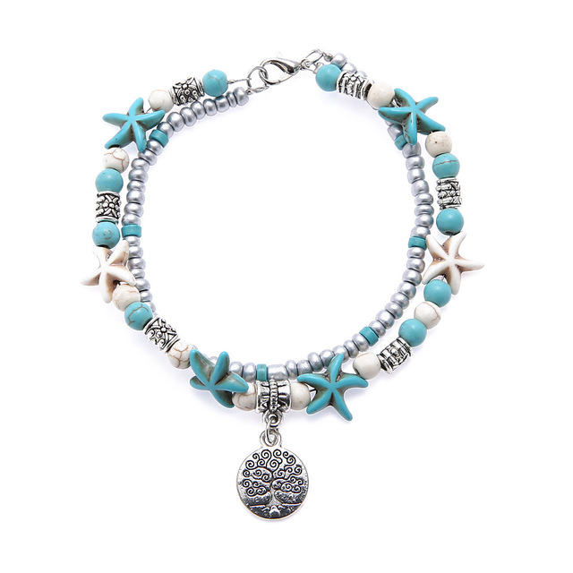 Bohemia Sea Turtle Starfish Charms Beach Anklet Shell For Women Boho Style