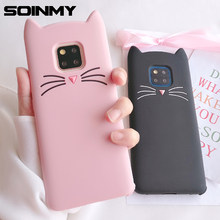 3D cute cartoon Glitter Beard ear Cat case For huawei p30 pro silicone soft TPU phone case for huawei p30 lite mate 20 pro cover(China)