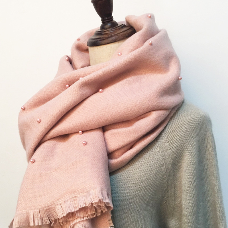 Autumn and winter new Korean pearl scarf pure cashmere shawl scarf Korean version of the scarf