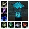 Amor Coração BB 3D USB Led Night Light 7 Cor Mudar Humor Natal Touch Kid/Crianças Sala de Estar/Quarto mesa/Lâmpada de Mesa de Iluminação