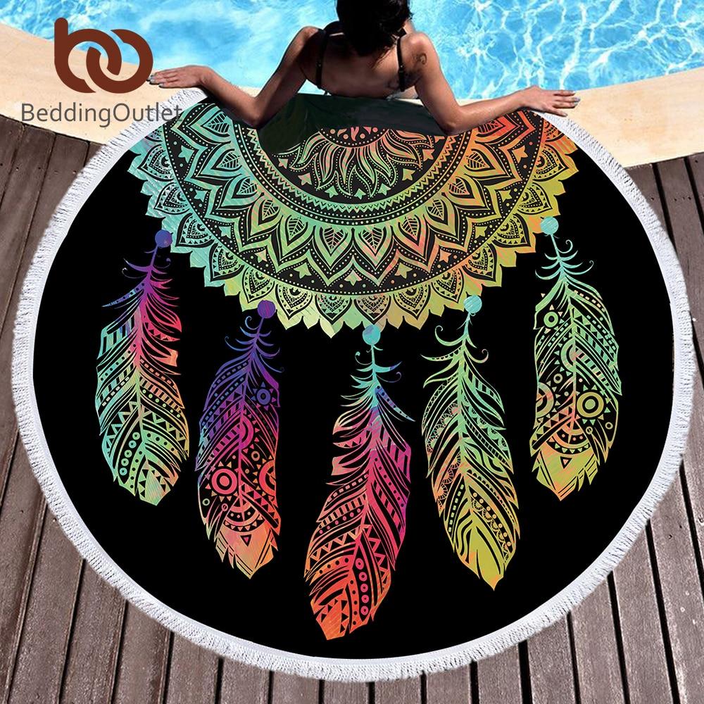 BeddingOutlet Bunte Dreamcatcher Quaste Mandala Tapisserie Schwarz Runde Strandtuch Toalla Sunblock Decke Yoga-Matte 150 cm