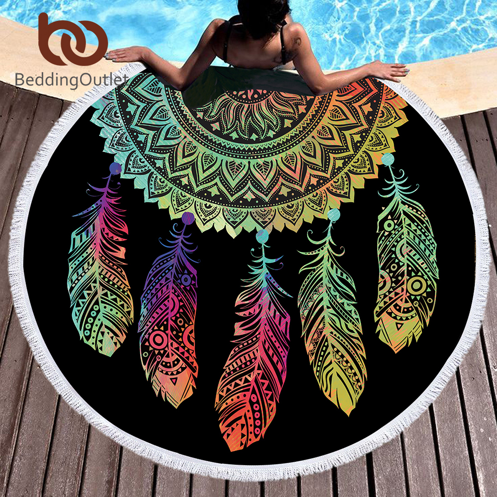 BeddingOutlet Colorful Dreamcatcher Tassel Mandala Tapestry Black Round Beach Towel Toalla Sunblock Blanket Yoga Mat 150cm