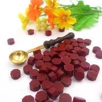 1set One Wax Spoon And 100 Pieces Sealing Wax Particles Grain For Retro Seal Stamp Wedding