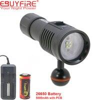 EBUYFIRE 4W2R Đèn Pin Lặn 18650 Torch Underwater Đèn Chụp Ảnh Video Đèn Trắng Red LED Scuba Hình Ảnh chiếu sáng
