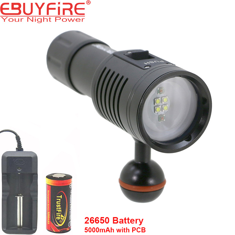 EBUYFIRE 4W2R Diving Flashlight 18650 Torch Underwater Photography Lights Video Lamp White Red LED Scuba Photo lighting