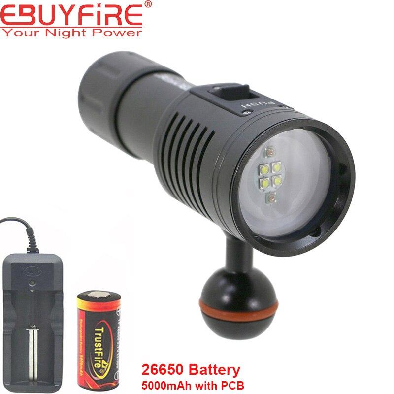 Ebuyfire 4W2R Дайвинг фонарик 18650 факел Подводные фотографии огни видео лампы белый красный led Подводное фото освещения