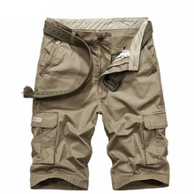 Men's flagship casual tooling pants summer straight multi-pocket five-point cotton