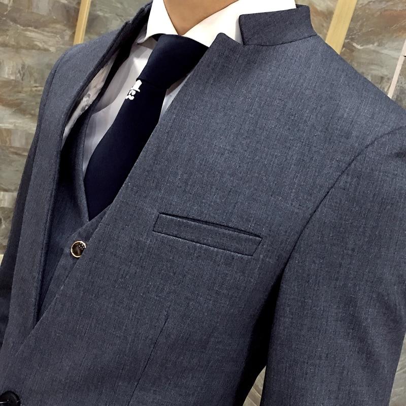 2017 nova korejska poročna obleka stojalo ovratnik suknjič moški - Moška oblačila - Fotografija 4