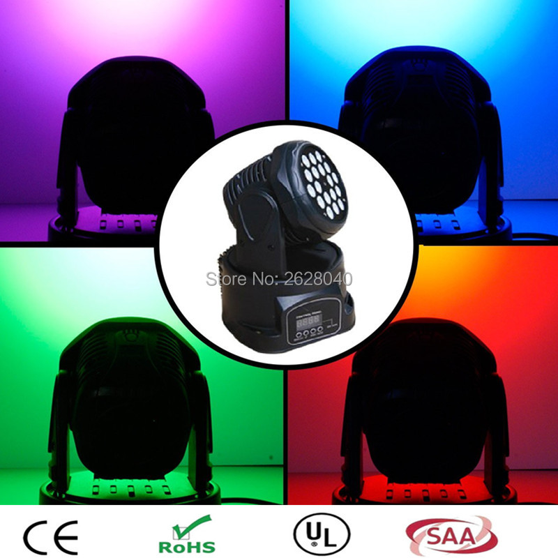 (1 pieces/lot) led wash moving spot lights 18x3W Moving Head led rgb DMX512 Light Mini Party Dj Disco Club Led Display new 1 30w led spot light 6 8w wash light led display