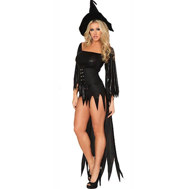 d561ca54e مثير الساحرة حلي ديلوكس الكبار إمرأة اللحظة السحرية زي الكبار الأسود  الساحرة فستان بتصميم حالم قبعة هالوين ازياء للنساء مثير