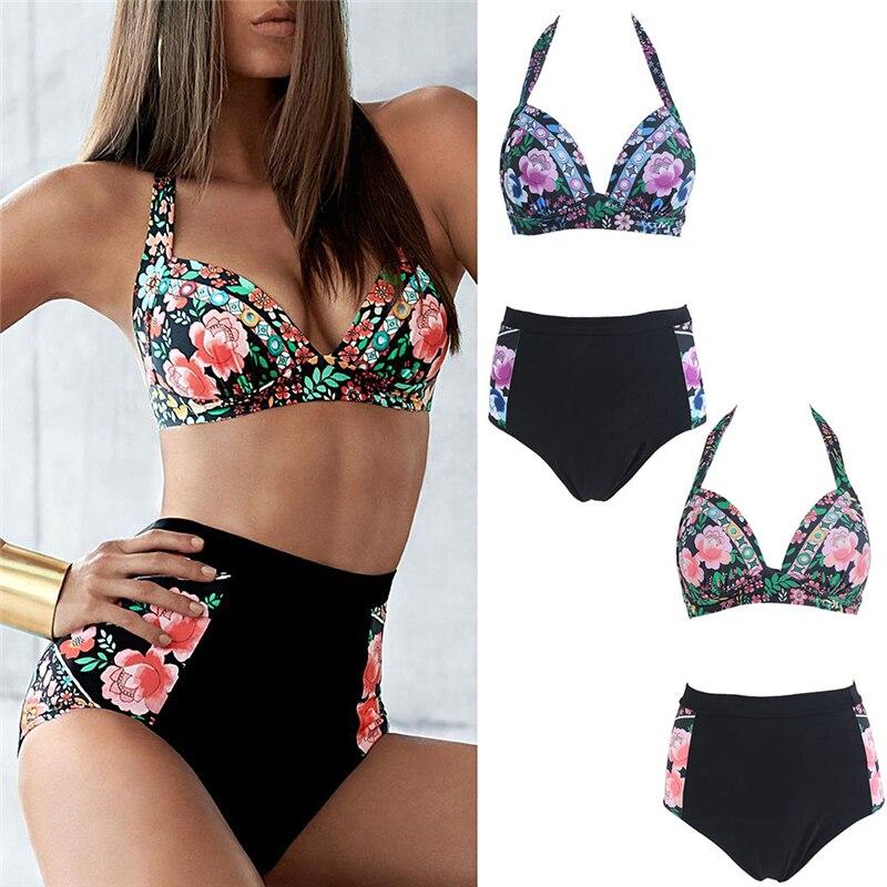 Women Floral Push Up Padded Biki ni Set swimsuit Bathing High WaistSwimwear Drop ship