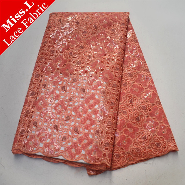 Peach African Organza Lace Fabric Hollow Out Lace 5 Yards High Quality African Sequins Lace For Handmade African Long Dress 2019