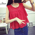 New Summer 2016 Women's Sleeveless Top Tee  Solid  Chiffon Clothing  Casual  Short Joint Tanks Loose For Cute Women' Clothing