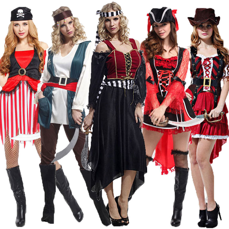 Umorden Halloween Karneval Voksen Kvinne Karibisk Pirat Kostyme Pirater Kostymer Kjole Fancy Cosplay Klær Set For Women