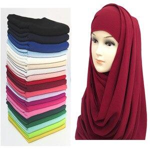 Image 1 - Bufanda no transparente de gasa, hiyab musulmán, chal, para la cabeza turbante, Foulard liso, color sólido