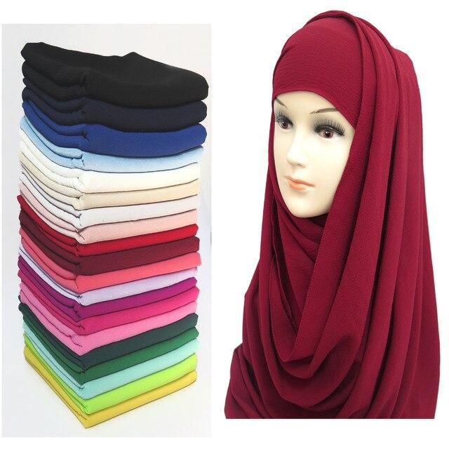Nie przezroczysty Bubble szyfonowa muzułmaninem hidżab szalik szal głowy Turban Wrap Foulard zwykły jednolity kolor