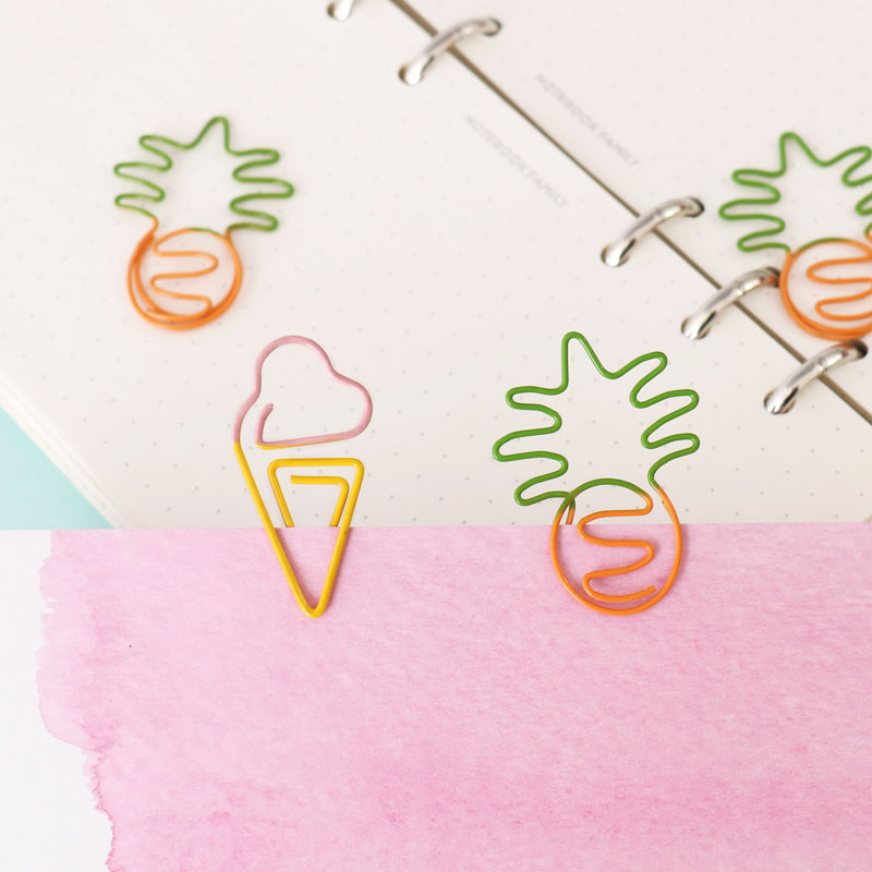 TUTU 10 pcs/lot Creative Kawaii pineapple ice cream bulb Shaped Metal Paper Clip Bookmark Stationery Escolar Papelaria H0281 3