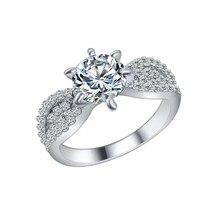 e14804505f26 Boda compromiso brillante redondo Cubic Zirconia CZ nupcial dama anillo de  dedo de la joyería