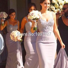 Mermaid Sweetheart Straps Long Floor Length Beautiful Bridesmaid Dresses Plus Size With Beadings MG161