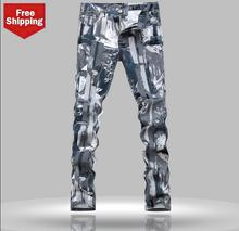 Slim straight camouflage mens jeans little feet pants famous brand trousers high quality european personalized classic