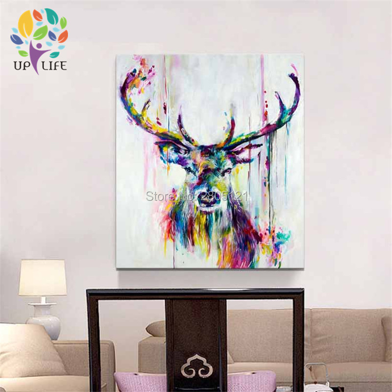 Hand Painted Deer Head Oil Painting Bucks Canvas Picture Aminal Wall Pop Art Paintings Christmas