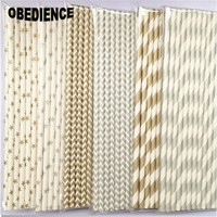 WHS Wedding Creative 150pcs Gold Sliver Color Stripe Drinking Paper Straws For Party Favor Festival Decorations
