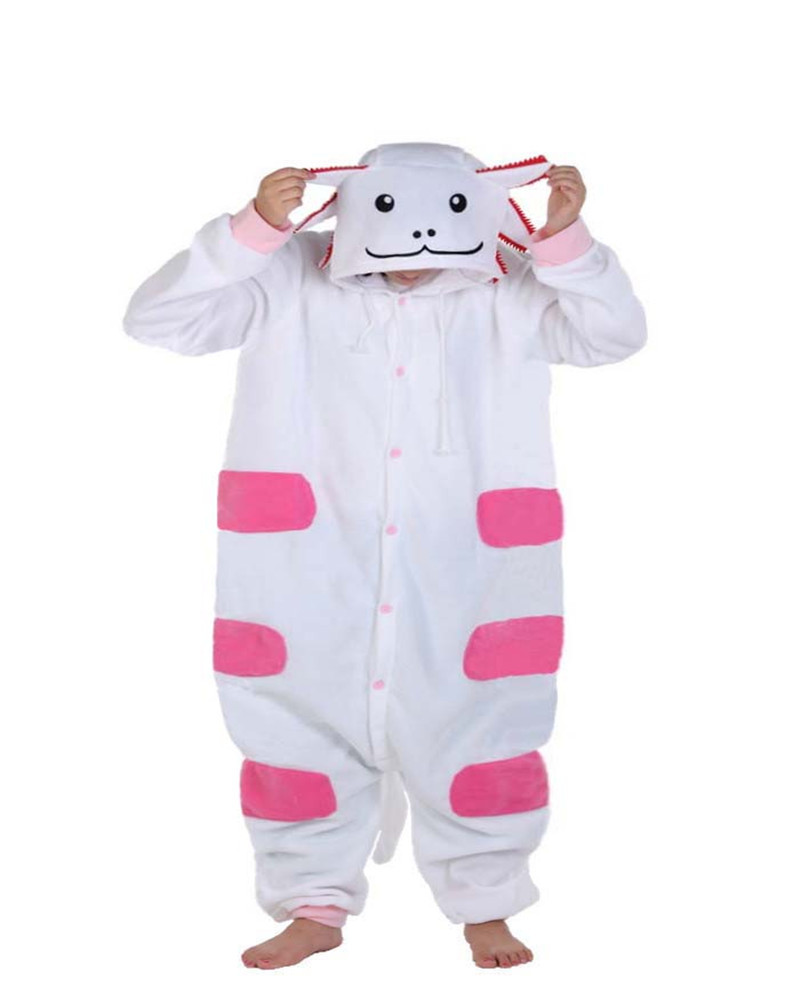 Cartoon White Newt Onesie Cosplay Costume Novel Party Pajamas Winter Racksuits Nightgowns Women Sleepwear Long Sleeve Size ...