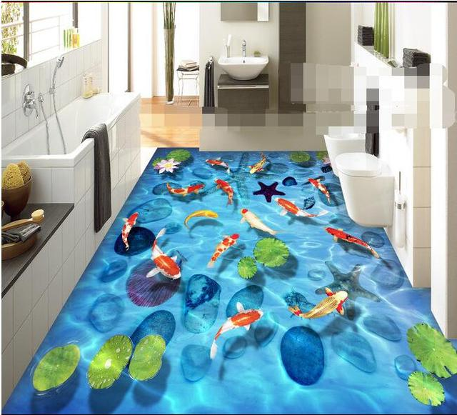 3 D Pvc Flooring Custom Wall Paper Stone Lotus Carp Shell