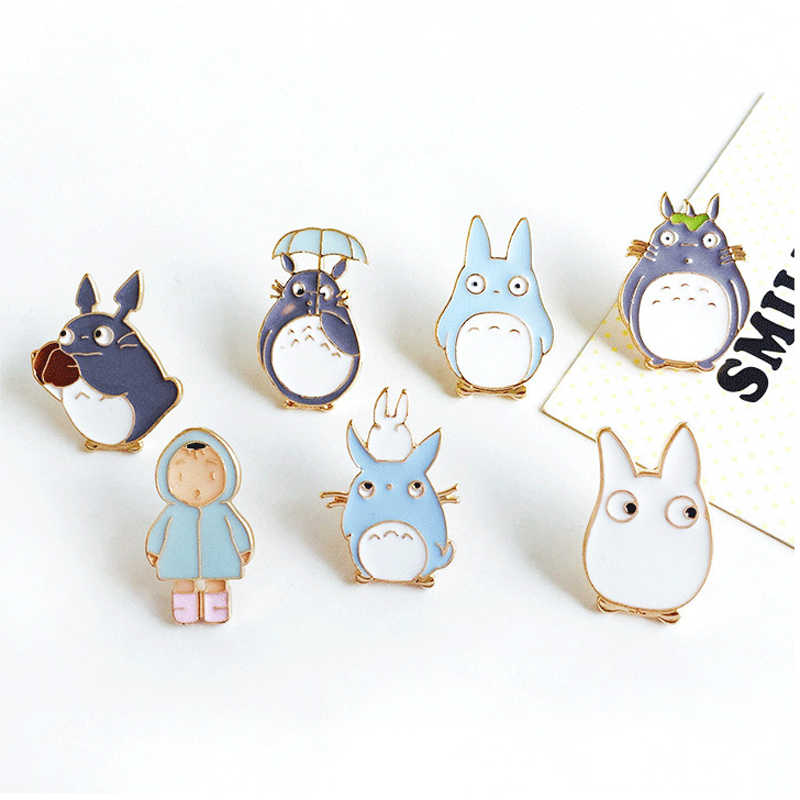 1pc Harajuku Unisex Alloy Enamel Anime Cute Totoro Girl Broche Badges Lapel Pin Safe Brooches Scarf Cool Boy Women Jewelry Gifts