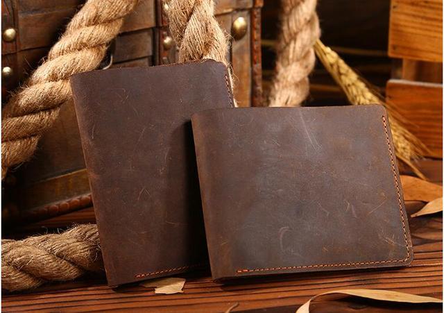 Nueva llegada crazy horse de cuero de los hombres corto billetera monedero de cuero genuino primera capa de piel de vaca bolso de cuero de color marrón