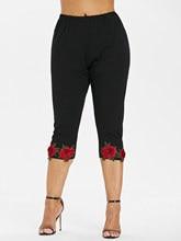 Women's Plus Size High Waist Crop Leggings with Rose Appliques