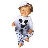 2017 bebê Recém-nascido sorriso rosto imprimir manga comprida bodysuits + irritar meias bebê meninas define conjuntos de bebê recém-nascido outono casuais