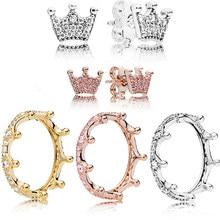 980c297561cd 2018 real 925 plata esterlina negro Original Rosa encantado Tiara Pandora  anillo claro CZ para pendiente de las mujeres encanto .
