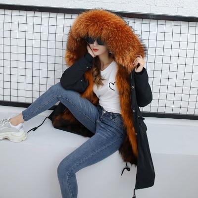 Jacket Women Winter Parkas Long Big Fox Fur Collar Hooded Coats 2018 Ladies Fur Linen Thickened Warm Jackets Plus Size Coat LZ962 (9)
