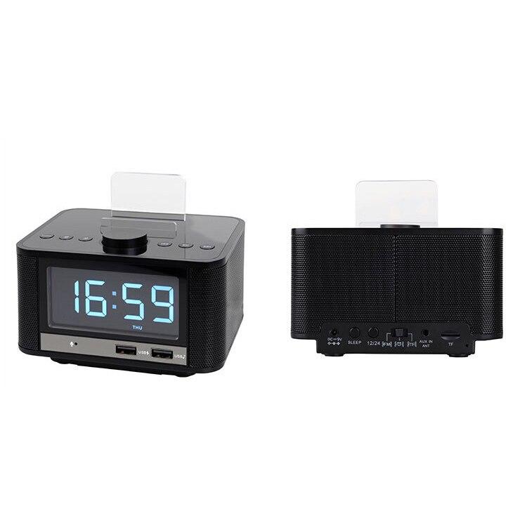 Radio réveil, haut-parleur Bluetooth sans fil, réveil numérique pour chambre avec Radio Fm/Port de charge Usb/Aux-In et cellule P