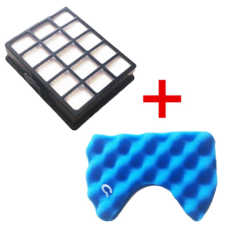 1 PC Stof Hepa Filter & 1 Set Blauwe Spons Filters Kit voor Samsung DJ97-00492A SC6520 SC6530/40/ 50/60/70/80/90 SC68 Stofzuiger